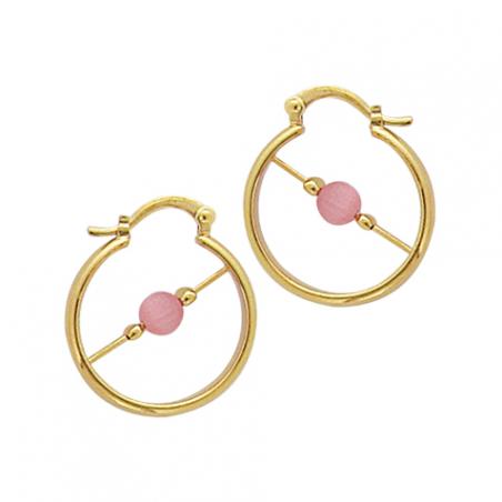 Créoles en plaqué or et perles d'imitation rose