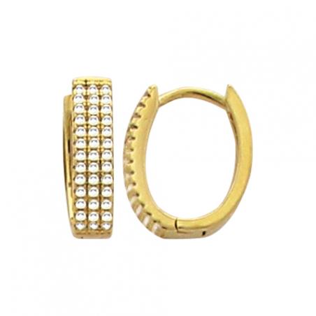 Créoles en plaqué or, forme ovale, trois rangs d'oxyde de zirconium