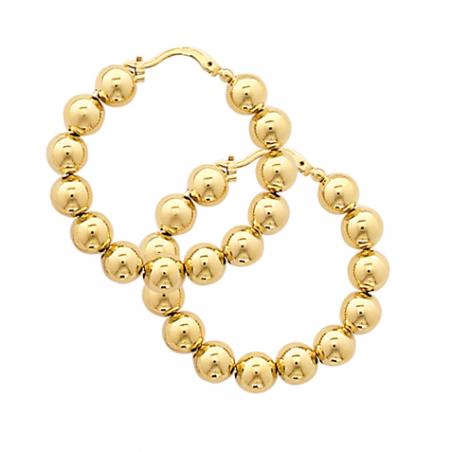Créoles en plaqué or, motif  boules