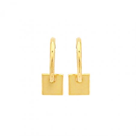 Créoles en plaqué or, motif carré pendant
