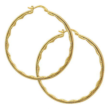 Créoles en plaqué or, motif points en relief