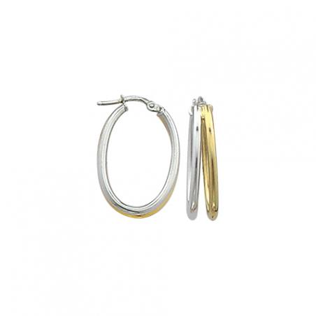 Créoles ovales en argent bicolore