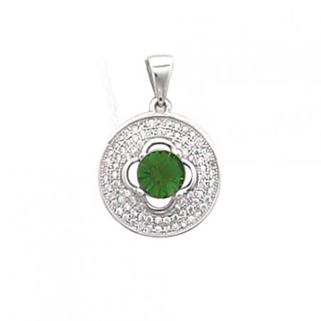 Pendentif en argent et oxyde de zirconium, blanc et vert