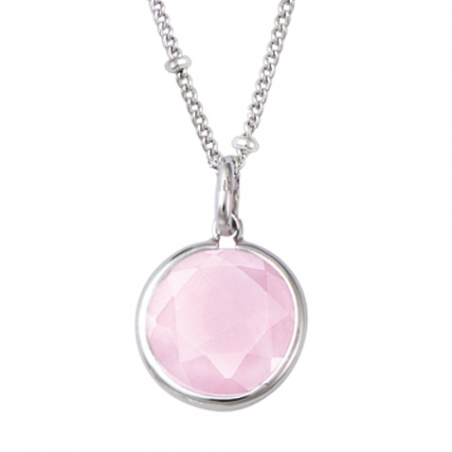 Pendentif en argent pierre rose sertie clos