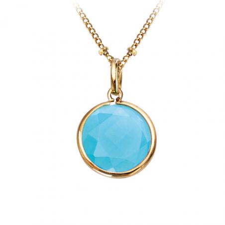 Pendentif en plaqué or pierre bleue sertie clos