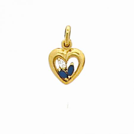 Pendentif en plaqué or, oxyde de zirconium blanc et bleu, motif coeur