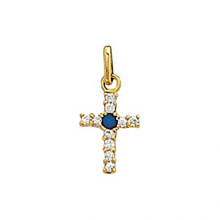 Pendentif en plaqué or, oxyde de zirconium blanc et bleu, motif croix