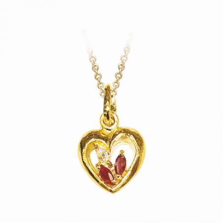 Pendentif en plaqué or, oxyde de zirconium blanc et rouge, motif coeur