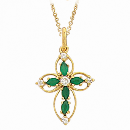 Pendentif en plaqué or, oxyde de zirconium blanc et vert, motif coeur