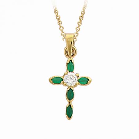 Pendentif en plaqué or, oxyde de zirconium blanc et vert, motif croix
