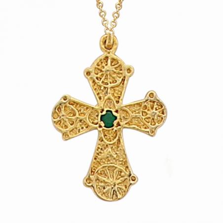 Pendentif en plaqué or, oxyde de zirconium vert, motif croix