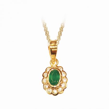 Pendentif en plaqué or, oxyde de zirconium, blanc et vert