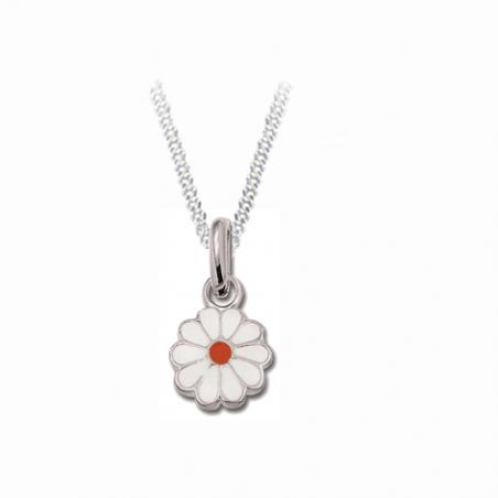 Pendentif enfant en argent, motif fleur émaillée blanc et rouge