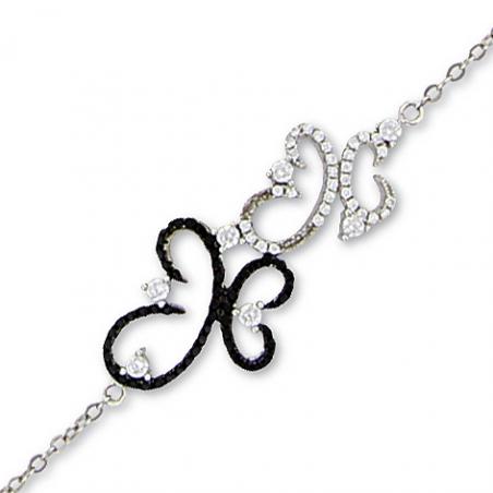 Bracelet argent oxyde noir et blanc en 18 cm mise à longueur20 cm