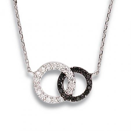 Collier argent oxyde noir et blanc en 40 cm mise à longueur 42/44 cm