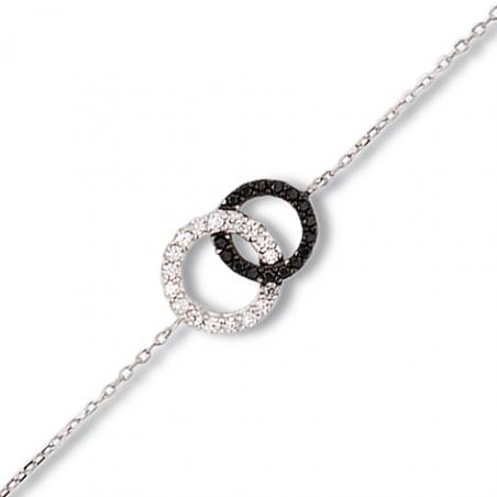 Bracelet argent oxyde noir et blanc en 18 cm mise à longueur 16/17 cm