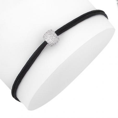 Bracelet reglable cordon synthetique Argent,oxyde blanc boule