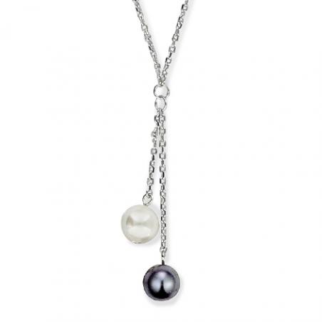 Collier argent perles blanche et noire ( imitation) en 40 cm à 45 cm