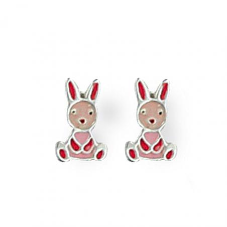 Boucle d'oreille argent lapin